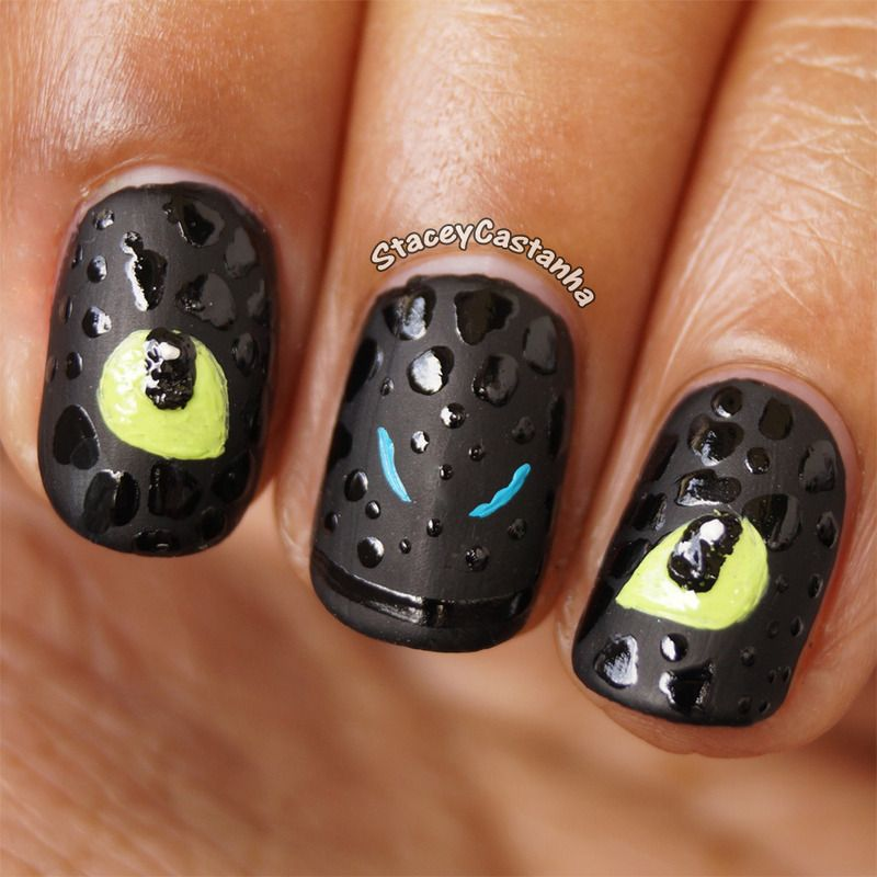 Nail polish art · I was inspired by the movie How to train your dragon.  Toothless is the cutest - I Was Inspired By The Movie How To Train Your Dragon. Toothless Is