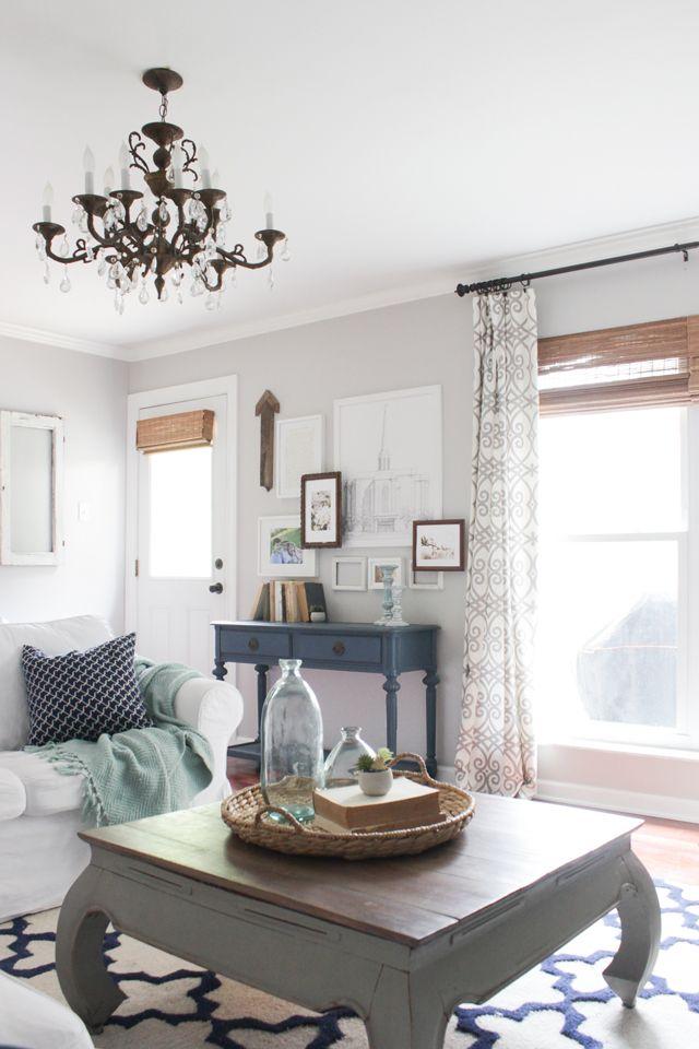 cordless bamboo shades grey walls living room navy