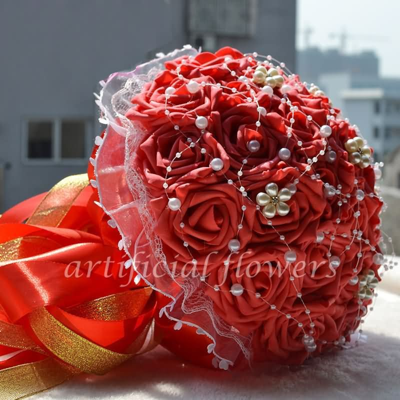 Best Bridal Wedding Silk Flowers Bouquets Artificial Flower For Weddings Red Tall 30CM