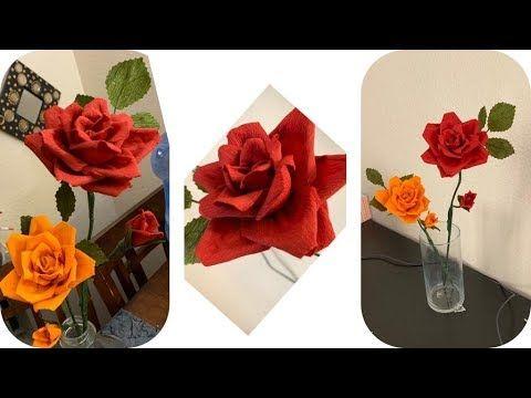 Crepe paper rose /DIY paper rose flowers - YouTube #crepepaperroses