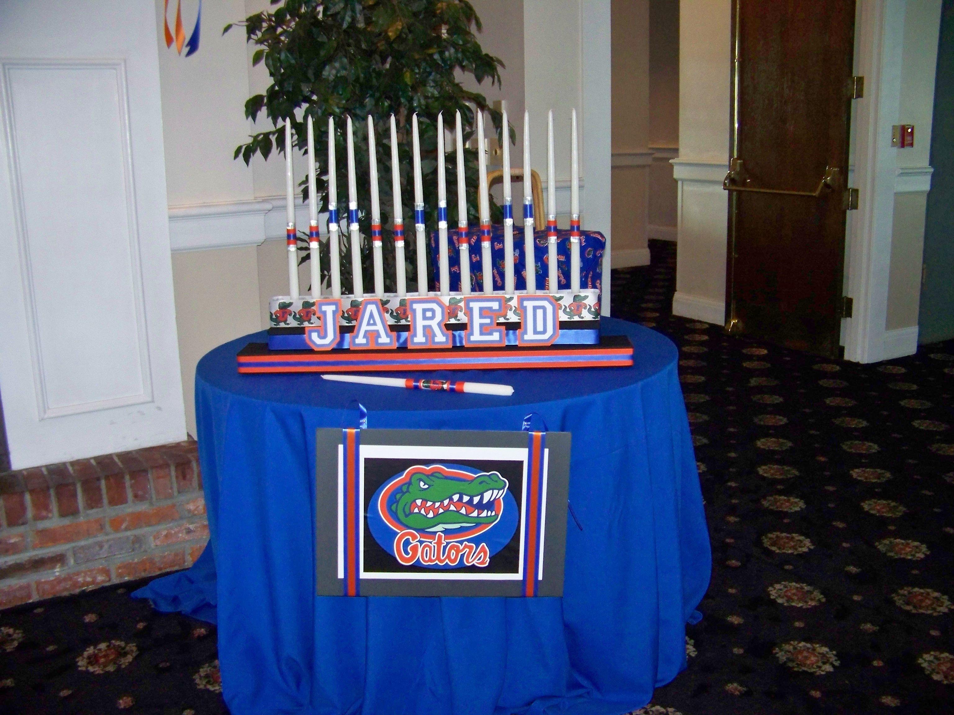 Florida Gator Candle Lighting Sports Theme Bar Mitzvah By Omas