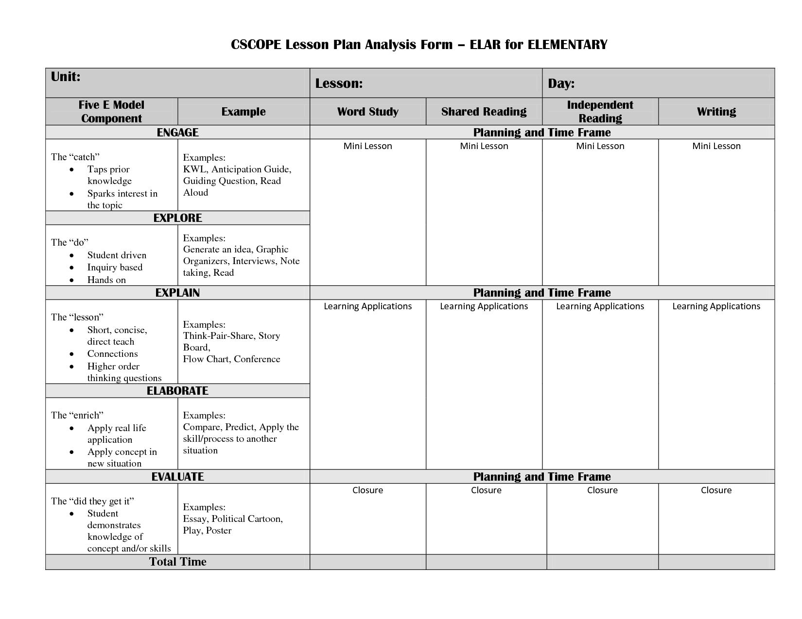 Elementary Lesson Plan Template Lesson Analysis Cscope Elar