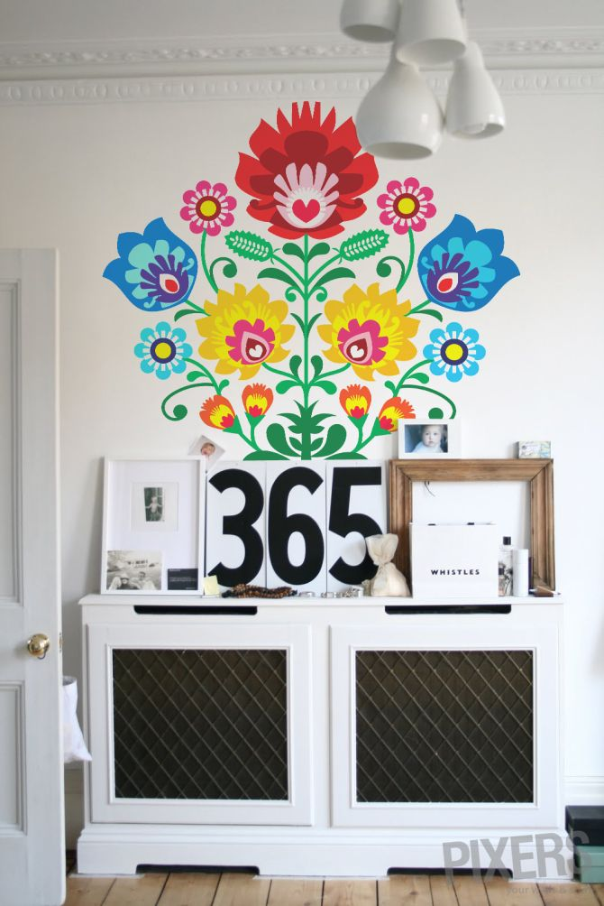 Folk, Self-adhesive Wall Mural, 150x150 cm, $124 #interior #design #folk #flowers