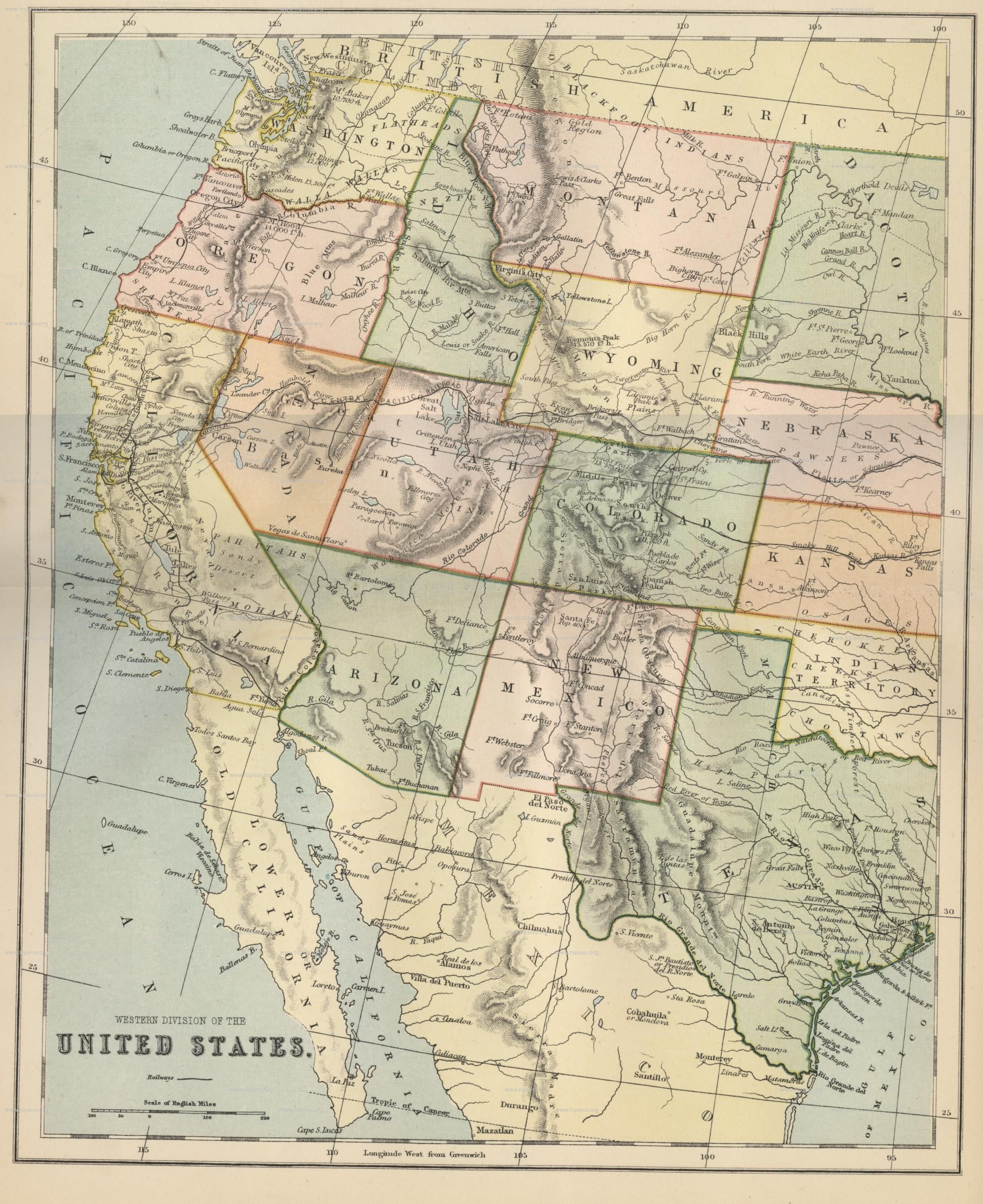 Western United States Public Domain Maps By Pat The Free Open Map Western Us