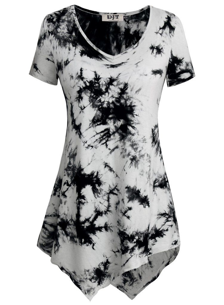 44b3ed41ec88 Super Soft Summer V-Neck Women s Slim Fit and Flare Tees Short Sleeve Hanky  Hem Long Women s Tie Dye Tunic Tops T-Shirt