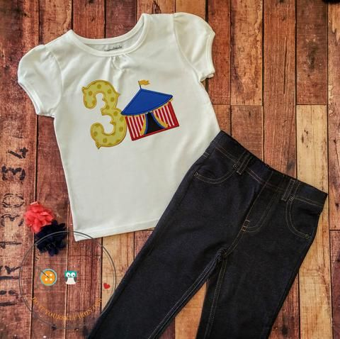 circus tent birthday number 3 diy iron on applique create this adorable outfit in 5