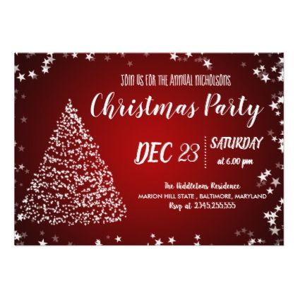 Red Christmas Tree Stars Holiday Party Card Christmas tree
