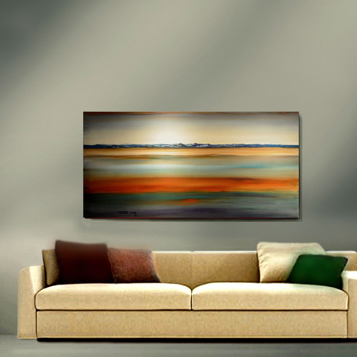 ORIGINAL ABSTRACT Painting Large 24X48 Sunset Landscape No Frame ...