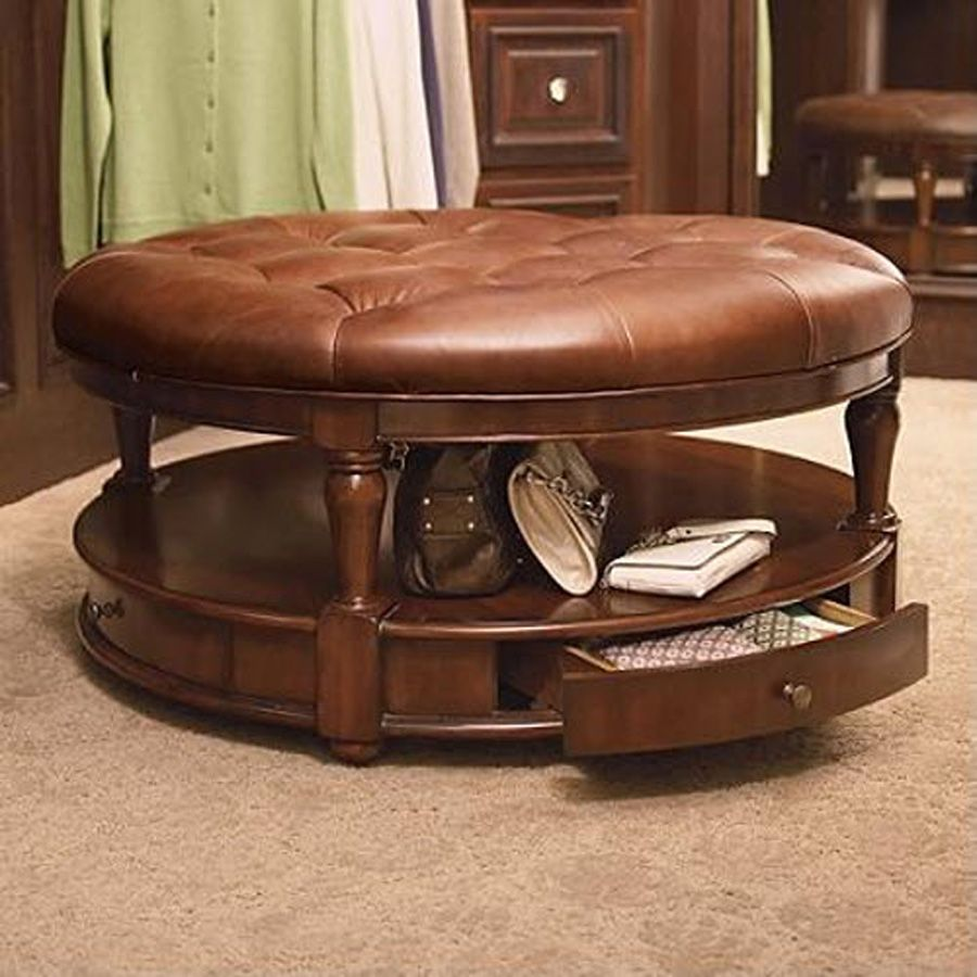Brown Leather Round Storage Ottoman With Single Drawer For Home Furniture Ideas
