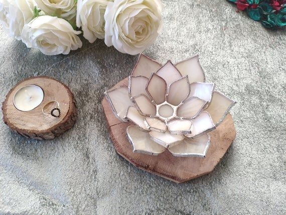 Rustic wedding ring holder & Jewelry dish, wedding bridal party gift, Engagement ring box, Valentines day gift for her, Succulent favors