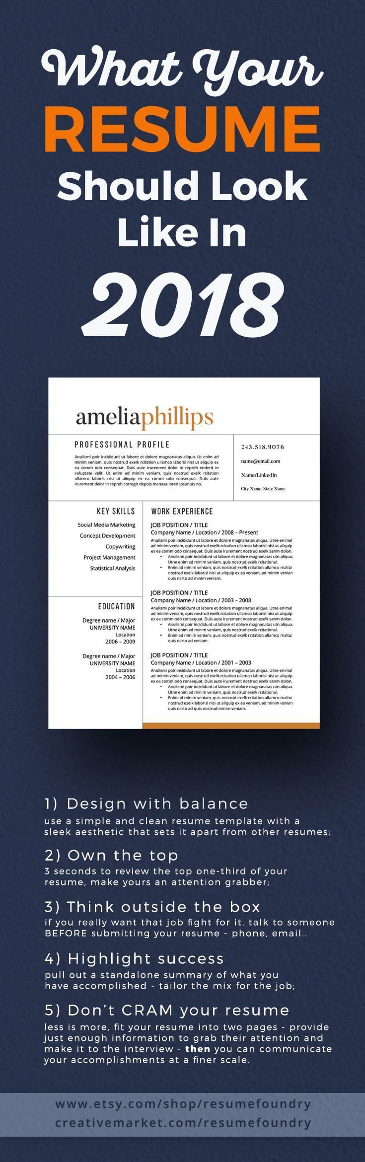 Update your resume to 2018. Simple to use resume template