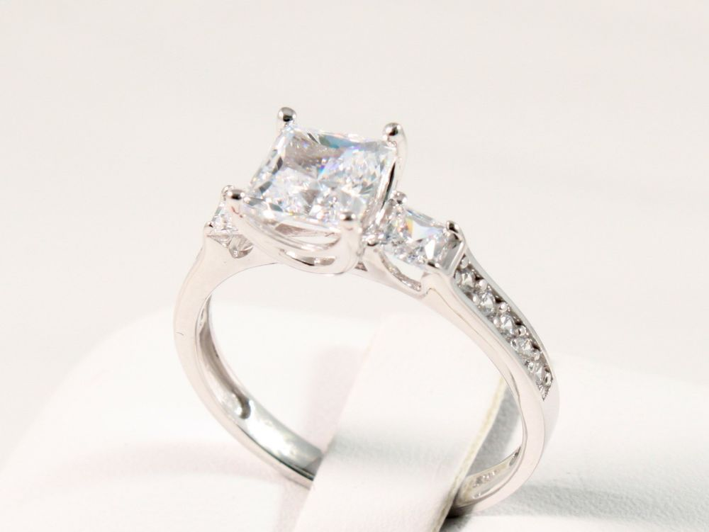 1.60 CT PRINCESS BRILLIANT CUT  ENGAGEMENT WEDDING RING SOLID 14K WHITE GOLD #SolitairewithAccents