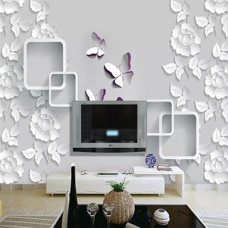 Fashion Peony Butterfly Tv Background Wall Professional Making Mural Wallpaper Wholesa Modern Wallpaper Living Room Removable Wallpaper Self Adhesive Wallpaper