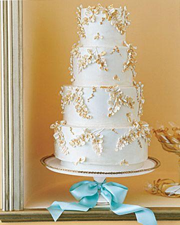 Light Blue and Gold leaf wedding cake