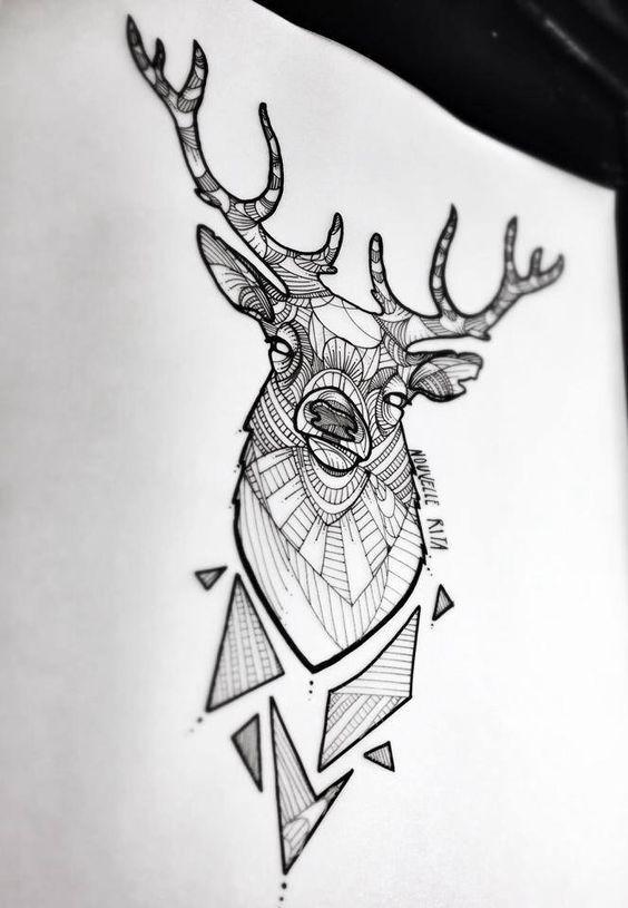 animal g om trique tatouage de cerf par nouvelle rita. Black Bedroom Furniture Sets. Home Design Ideas
