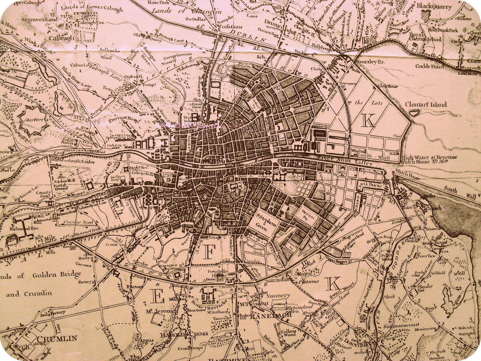 old dublin ireland map from the 1800s genealogy pinterest