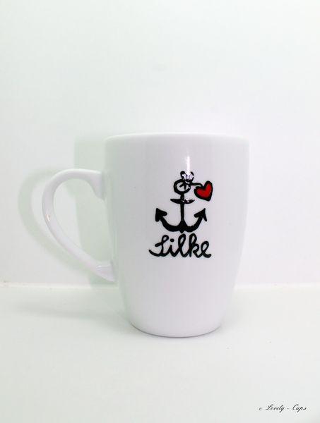 Geschenk Tasse mit Namen für die Freundin Anker, Tassen und Dawanda - porzellan geschirr geschenk