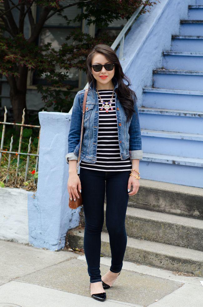 Denim jean jacket, black and white striped sweater, black ...