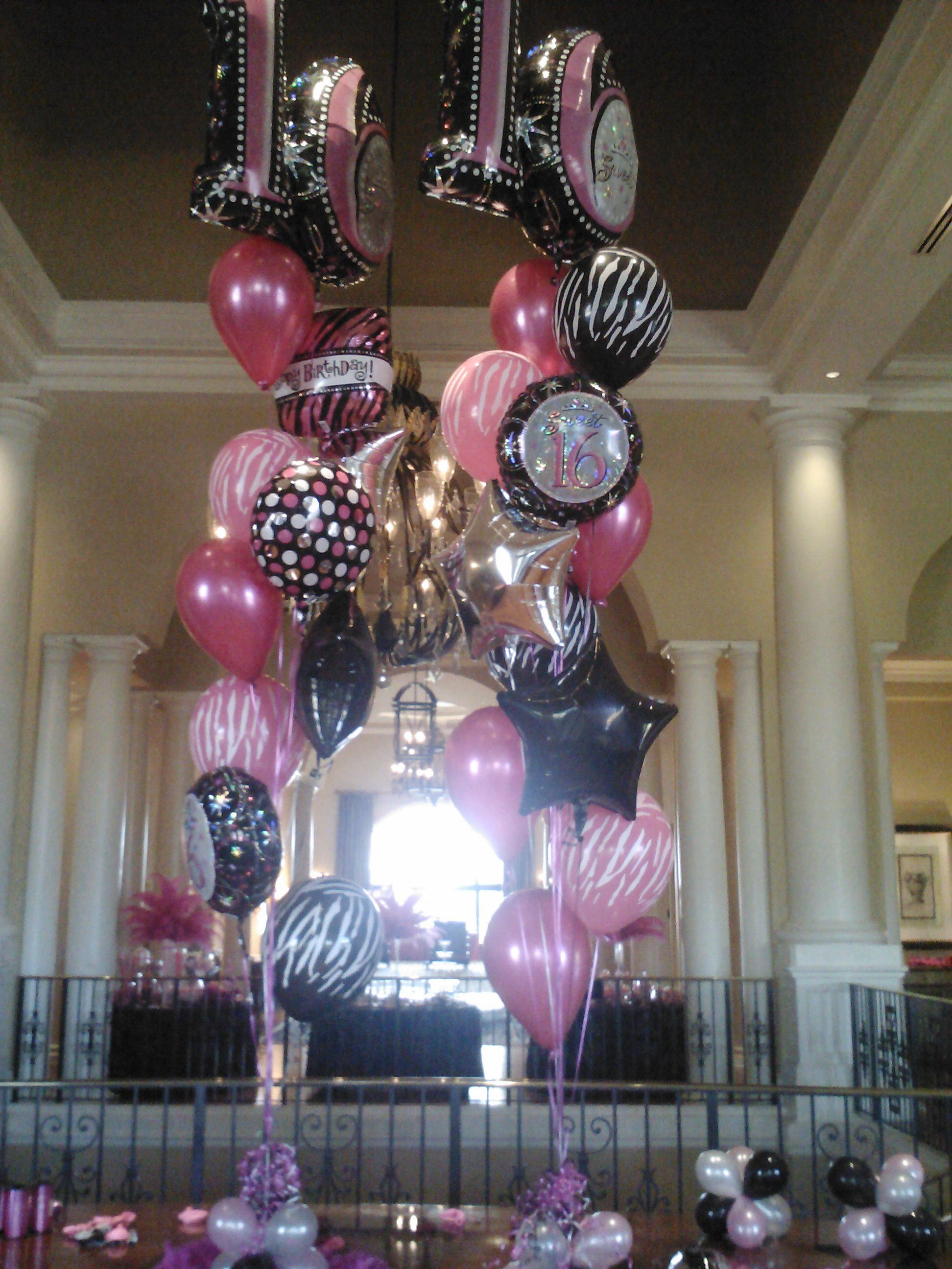 Sweet Sixteen Jumbo Balloon Centerpieces Palm Beach Gardens Florida Bouquet Delivery