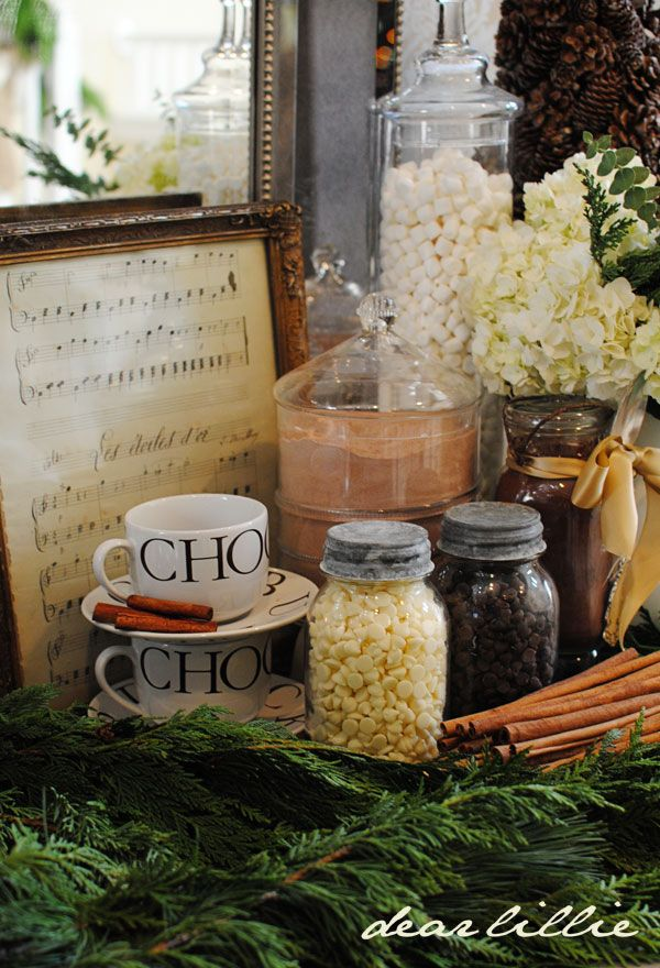 Christmas - hot chocolate stand -- marshmallows, hot chocolate, choc chips. cute!
