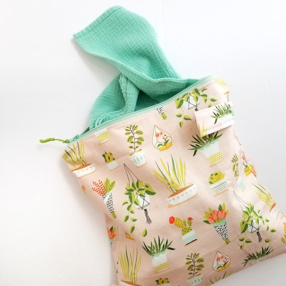 Pink Plants Wet Bag Laundry Bag Diaper Clutch Reusable Produce