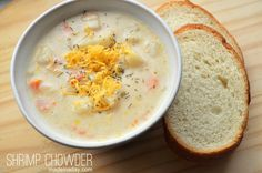Shrimp Chowder, potato soup with shrimp, corn chowder. In a 4-quart saucepan, melt half of the butter and saute the onion and carrots until both are slight