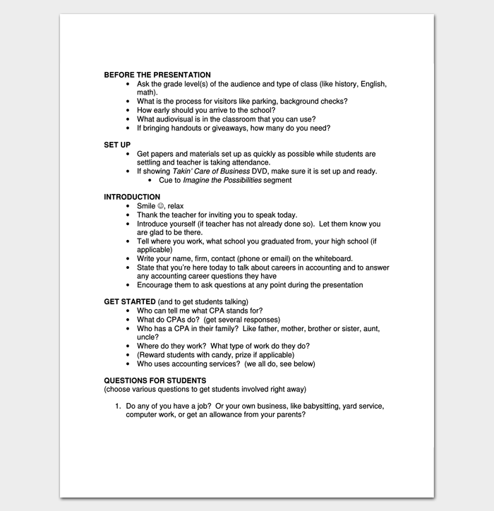script outline example for pdf