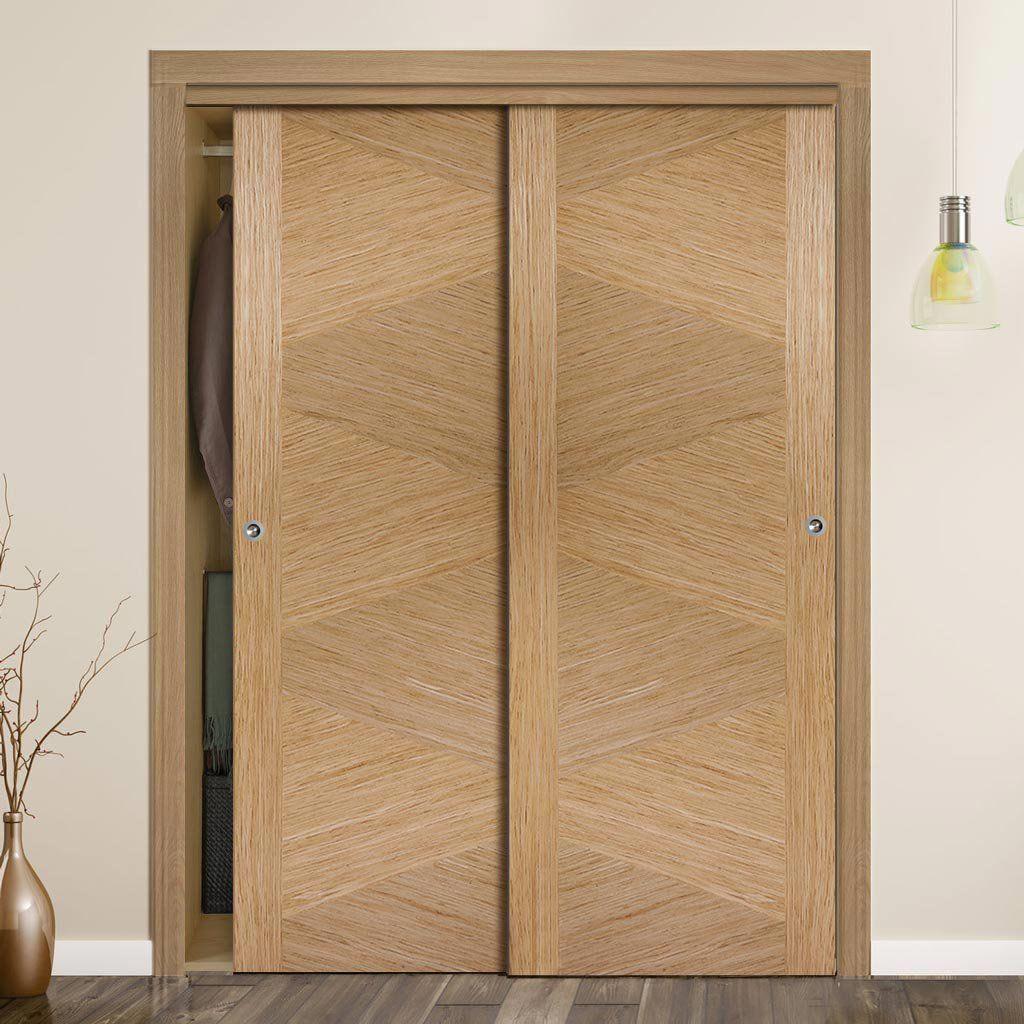 Thruslide Zeus Flush Oak 2 Door Wardrobe And Frame Kit Prefinished Lifestyle Image Contemporary Wardrobe Zeus Lifestyle Doors