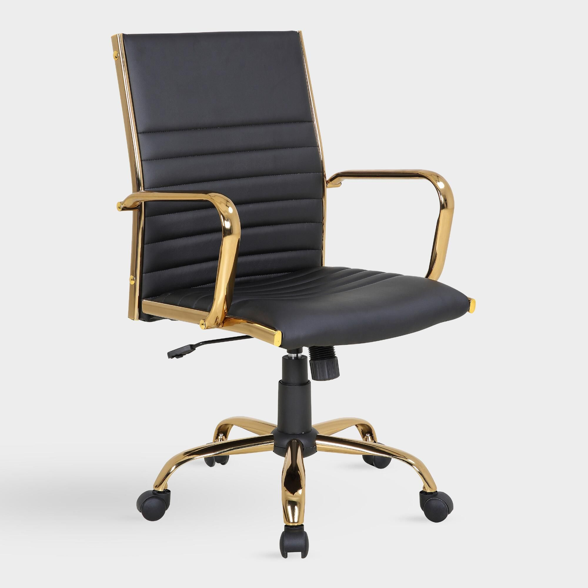 Surprising Black And Gold Channel Back Office Chair By World Market Pabps2019 Chair Design Images Pabps2019Com