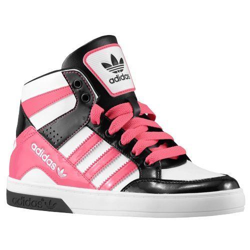 adidas Originals Hard Court Hi 3 Girls' Grade School Basketball Shoes White/Bahia  Pink/Black