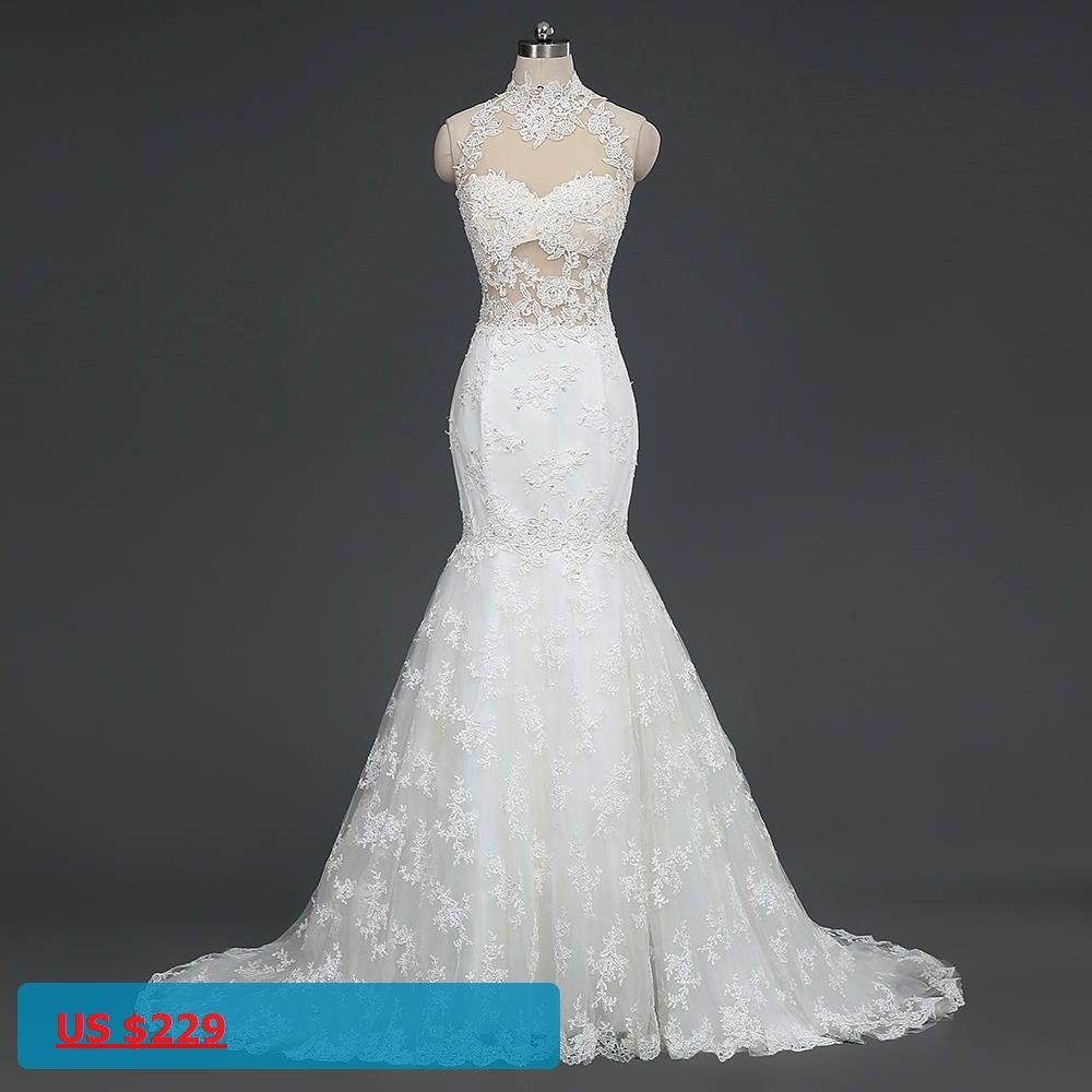High neck lace mermaid wedding dresses real picture backless