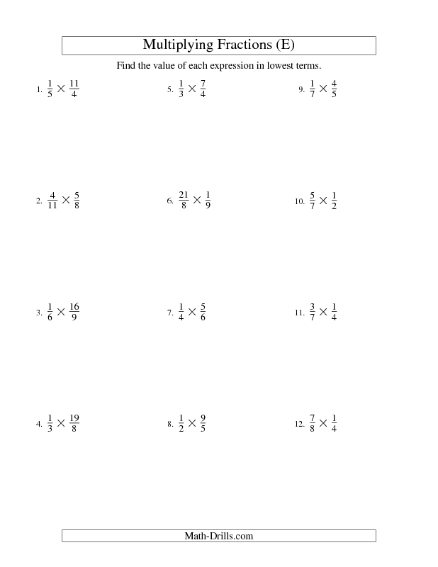 Multiplying and Simplifying Proper and Improper Fractions (E ...