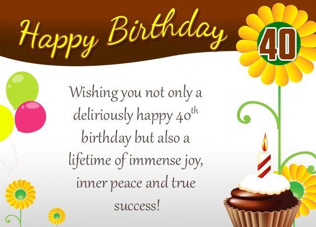 40th birthday wishes happy