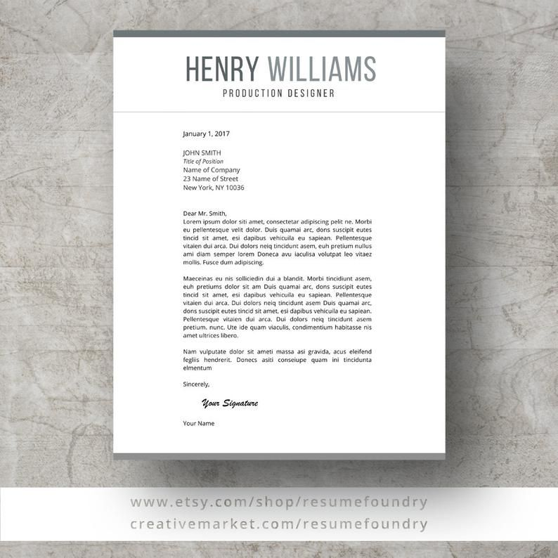 Resume Template, 1-3 Page Resume + Cover Letter + Reference ...