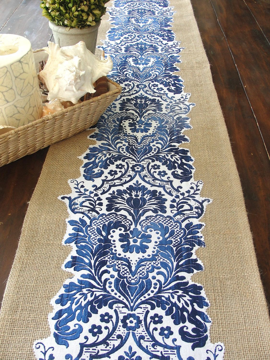 Attirant Burlap Table Runner Extra Long Blue And White By HotCocoaDesign, Add Coral  Flowers In Blue And White Milk Glass Vases.