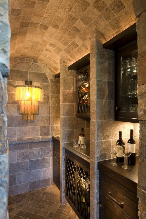 Wine Nook in the basement. Great looking room with vaulted ...