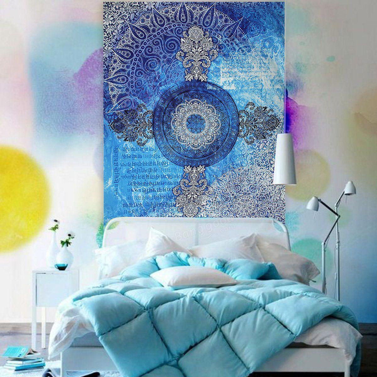 US22.45 Indian Mandala Tapestry Wall Hanging Blue Sofa