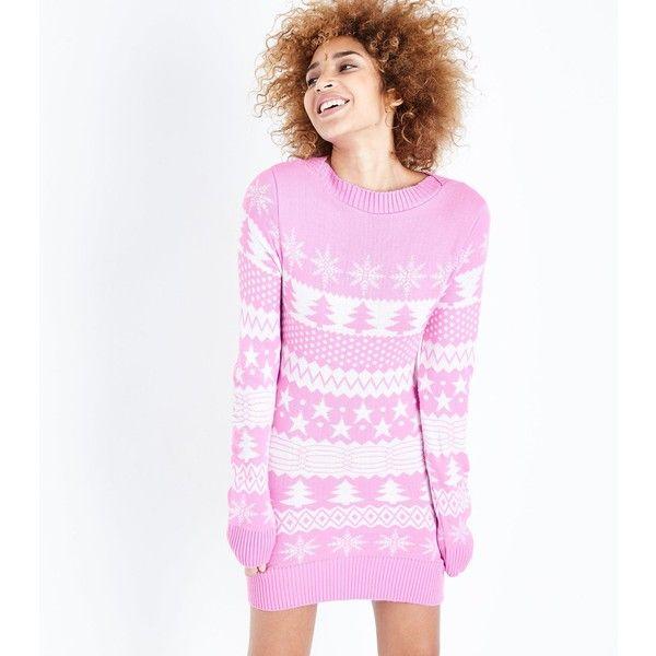 Mela Shell Pink Fairisle Knit Christmas Jumper Dress (£28 ...