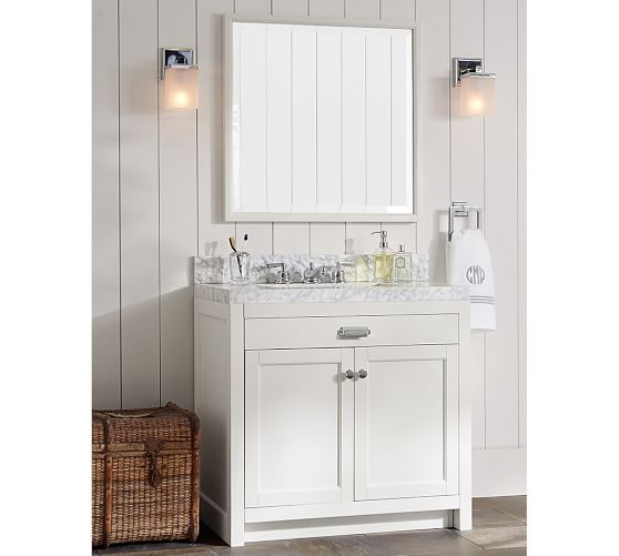Davis Single Sink Console | Pottery Barn- MDF walls and scones with vanity  for half - Davis Single Sink Console Pottery Barn- MDF Walls And Scones