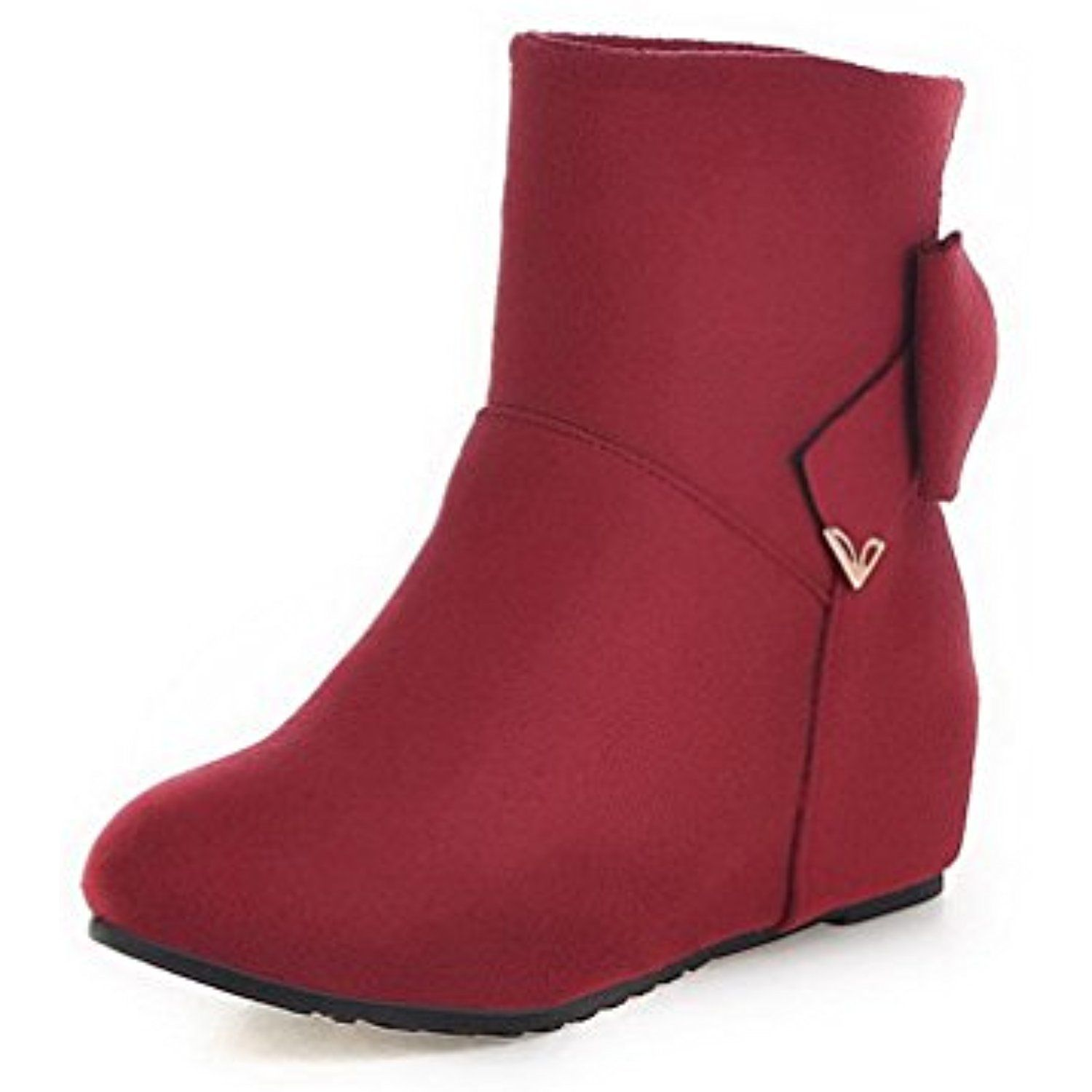 Women's Low-Top Solid Pull-On Round Closed Toe Kitten-Heels Boots