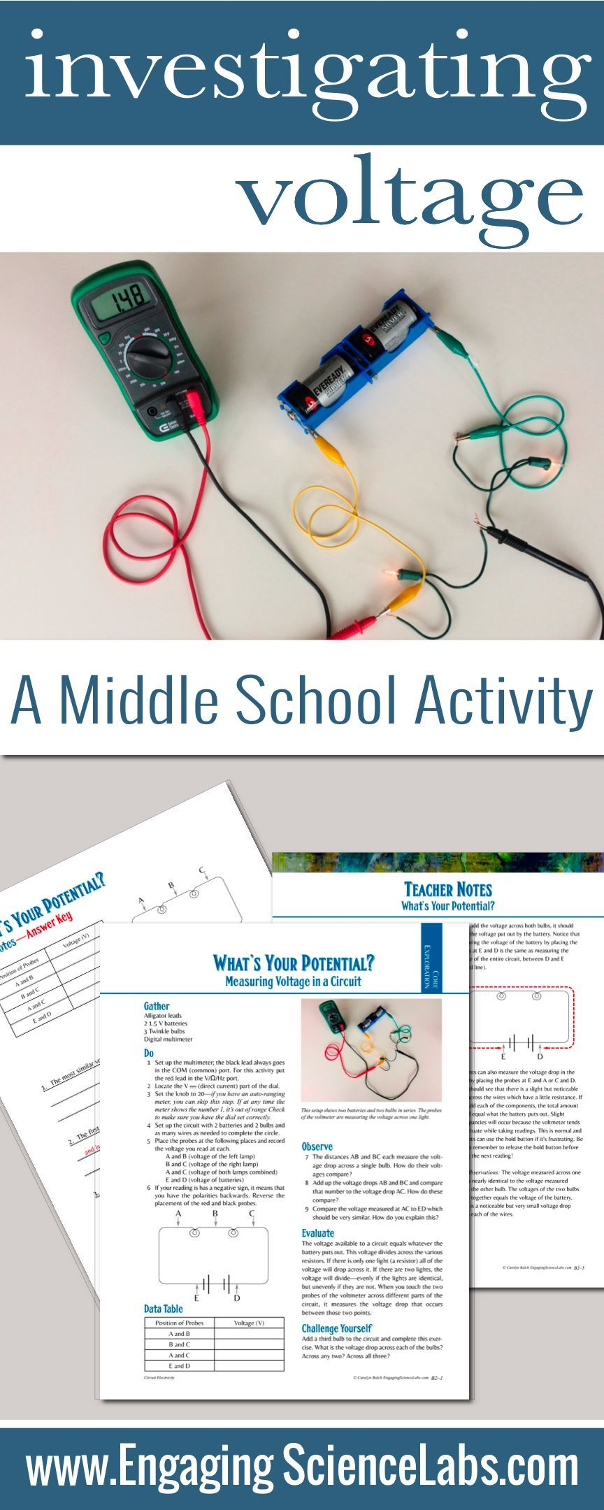 Electric Circuits Measuring Voltage In Hands On Lab Other Similar Activity Pinterest Circuit Science Curriculum And Classroom Resources