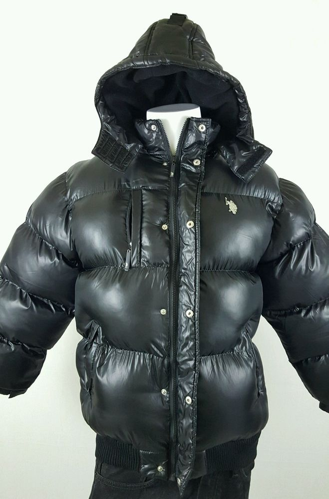 570ae5b41 US POLO ASSN Black Lined Shiny Bubble Puffer Jacket Boys Size 18 20   USPoloAssn  PufferJacket  Everyday