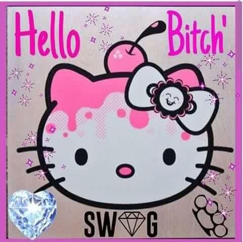 "Hello Kitty ""Hello Bitch Swag #diamond #brassknuckles #hellokitty #cherry #swag"