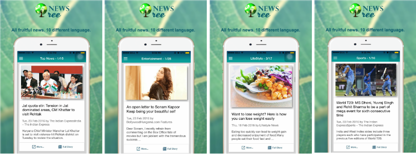 NEWS TREE Application for all your daily fruitful NEWS updates in 10 different languages.