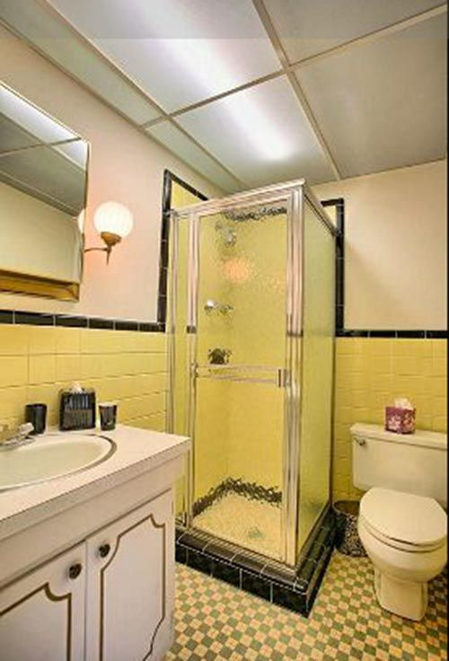 Yellow And Black Tile..probably Similar To What WAS In Our Master Bathroom.