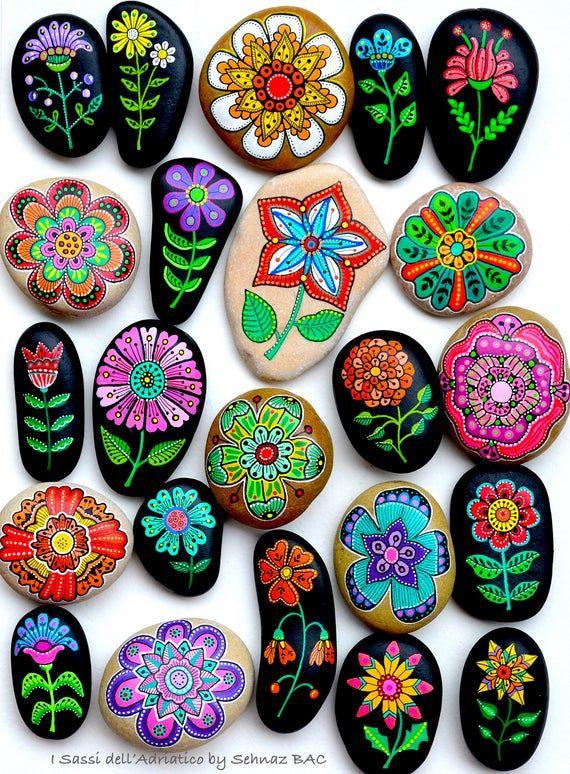 Blumen/Set von 7 handgemalten Steinen * Sassi dell ' Adriatico (Adria) #steinebemalenvorlagen