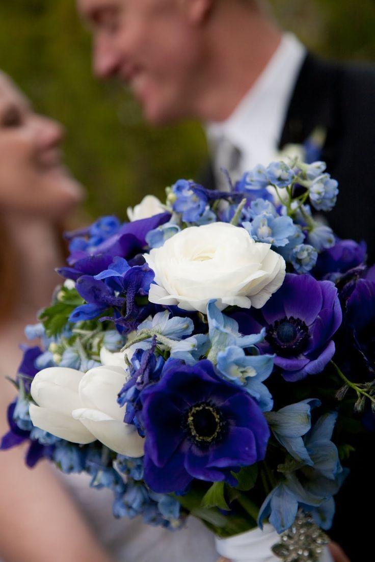 Blue Bouquet Of Pale Delphinium Radiant Anemones And White Ranunculus