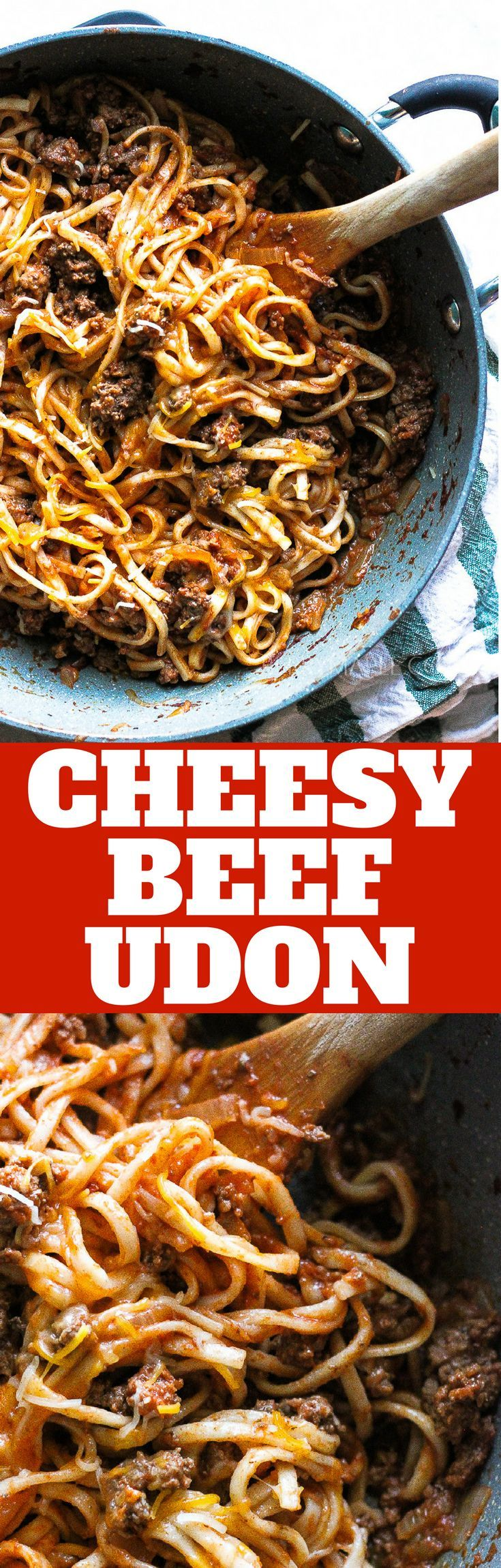 CHEESY BEEF UDON PASTA NOODLES. Easy flavorful  weeknight meal for you and your family- try this cheesy beef udon noodles on a busy weekday night! #udon #pasta #noodles #beef #groundbeef #easyrecipe #cheese #dinner #lunch #weekend #brunch