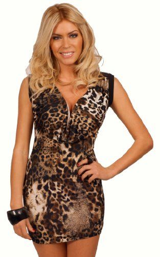 c7977496dd Sleeveless Style Scoop Neck Animal Print Design Zipper Cocktail Party Mini  Dress From Hot From Hollywood