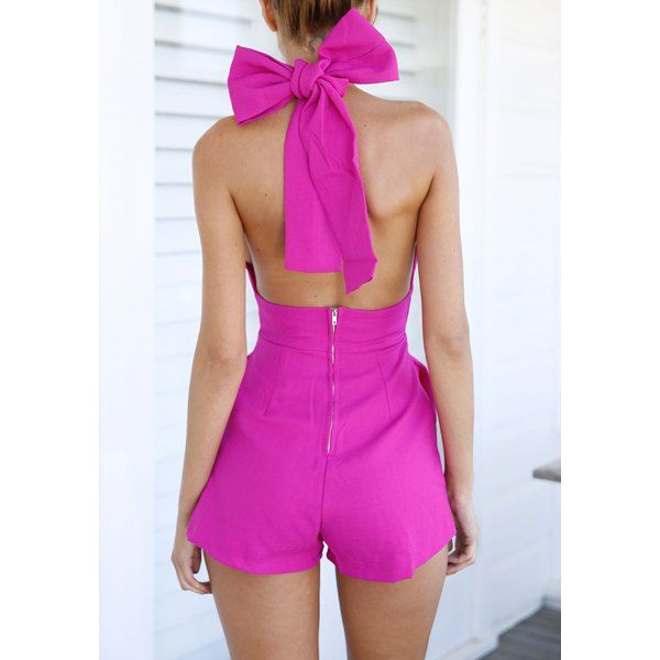 Sexy Halter Sleeveless Bowknot Embellished Backless Women's Romper